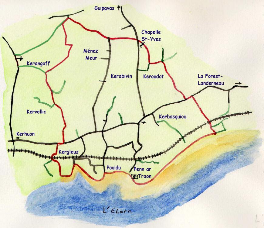 plan aquarelle Guipavas-Douvez